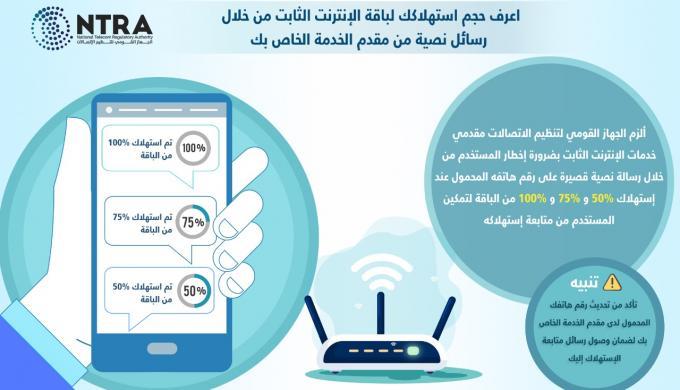 """"""" القومي لتنظيم الاتصالات"""" ينصف المستهلكين ويلزم مقدمي الإنترنت الثابت بإعلام المشتركين بحجم استهلاكهم بصفة دورية"""